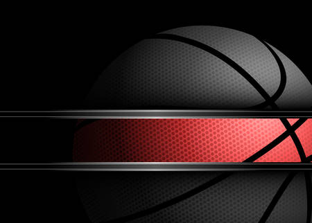 Ilustración vectorial de una pelota de baloncesto en el fondo negro