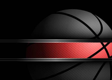 Vector illustratie van een basketbal op zwarte achtergrond