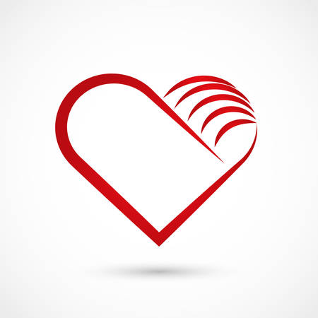 Vector illustration of a red heart on white background