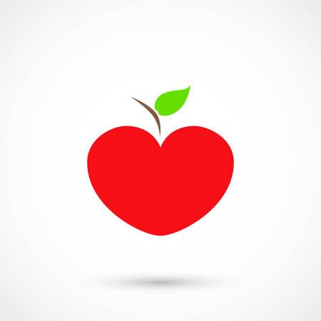 Vector illustration of an apple heart on white background