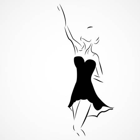 lyrical dance: Vector illustration of a ballet dancer on white background
