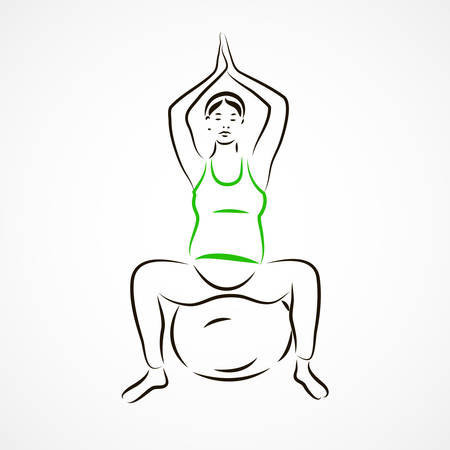going in: Vector set of a pregnant woman going in for sports