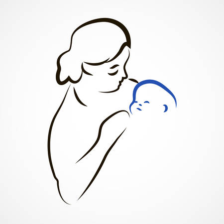 born saint: Sketchy vector illustration of a mother with a baby Illustration