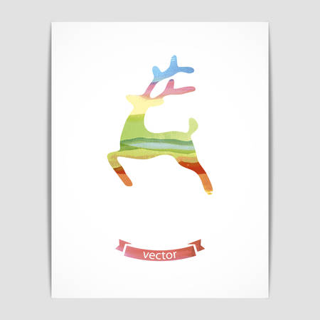 eps 10: Vector illustration of a card with a watercolor deer. Eps 10, contains transparency