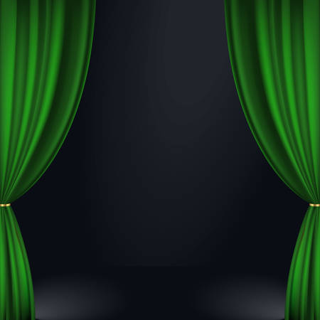 curtain up: Vector illustration of a green stage curtain. Eps 10, contains transparency Illustration