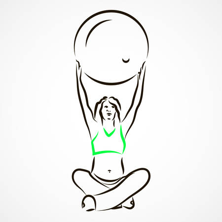 maternal: Vector set of a pregnant woman going in for sports