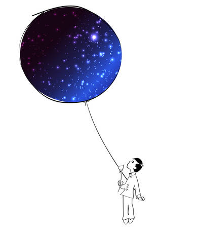 thrilling: Vector illustration of a boy with a sky balloon Illustration