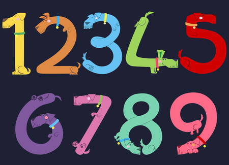 Funny dogs form colorful numerals on black background