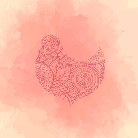 Vector illustration of a bird with pattern