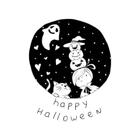 Vector illustration of a Halloween cartoon creatures Illustration