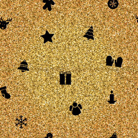 Vector illustration of Christmas Objects on gold background