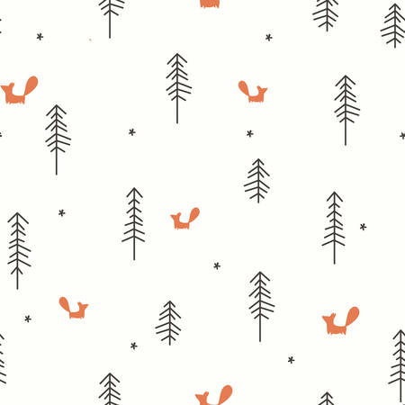 Vector illustration of a Winter Forest Seamless Pattern
