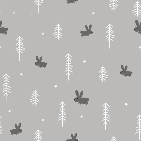copse: Vector illustration of a Winter Forest with a Rabbit
