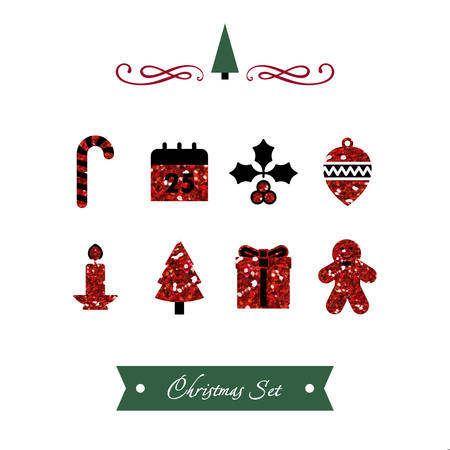 Vector illustration of a Set of Red Shiny Christmas Icons