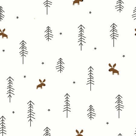 Vector illustration of a Winter Forest with a Moose