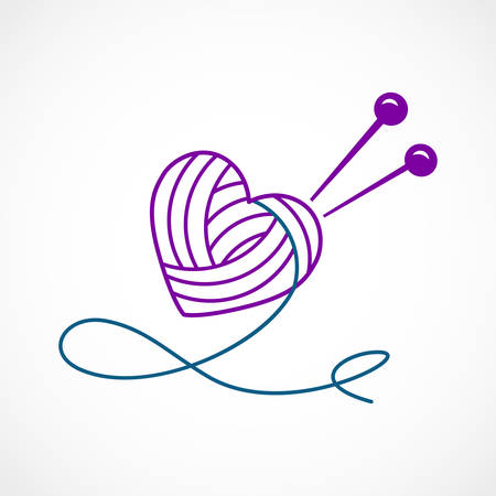 Vector illustration of a Knitting Vector Heart
