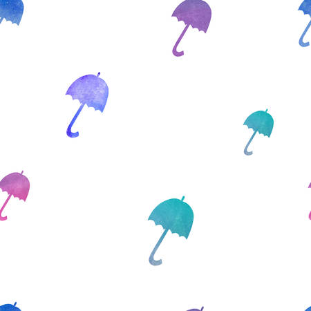Seamless pattern with watercolor colorful umbrellas