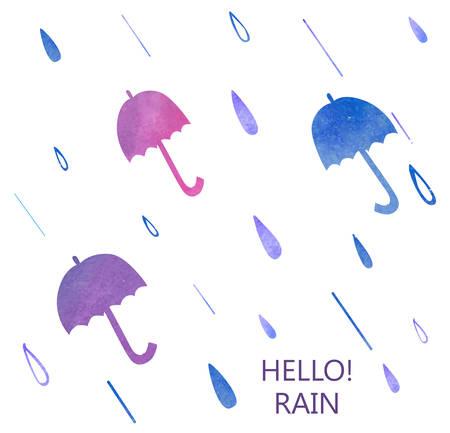 Vector illustration of a Watercolor Umbrella Set