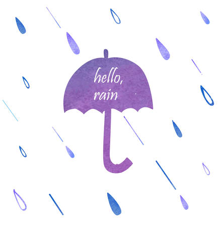 Vector illustration of Umbrella Watercolor Silhouette Illustration