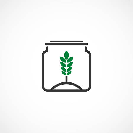 Vector illustration of a plant in the jar