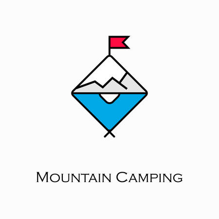Vector illustration of a Mountain Camping Icon
