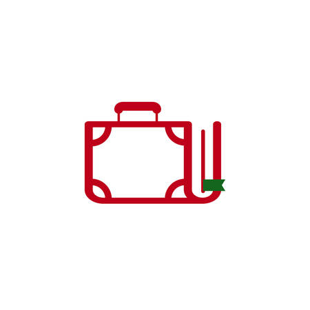Vector illustration of a Book Suitcase Icon