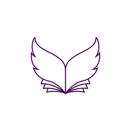 날개 모양의 시트가있는 책의 벡터 일러스트 레이션