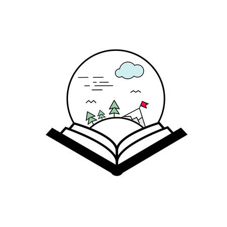 Vector illustration of an Open Book Paysage