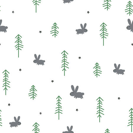 Vector seamless pattern with a rabbit and pines