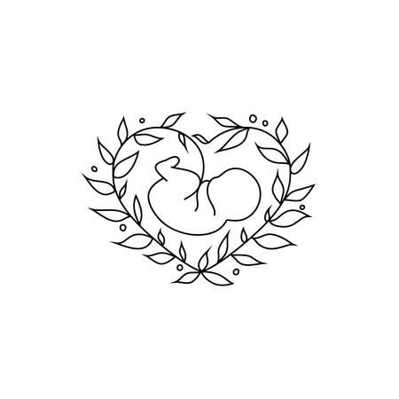 Vector fetus symbol with floral heart-shaped frame Illustration