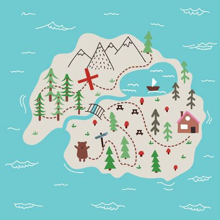 Hand drawn cartoon map of an island