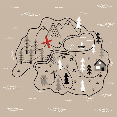 Hand drawn cartoon map of an island