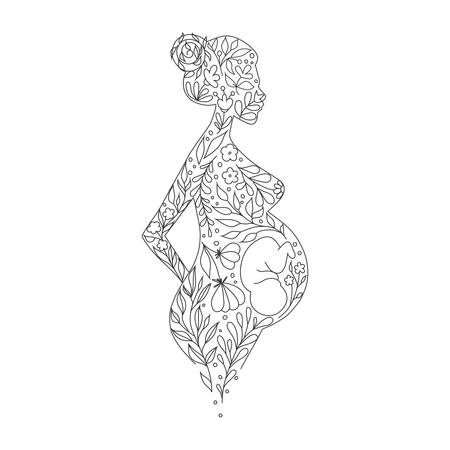 Vector cover with floral slhouette of a pregnant woman