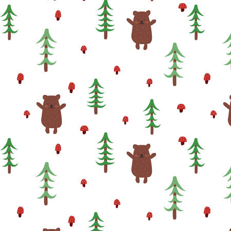 Baby colorful seamless pattern with the image of a cute bear