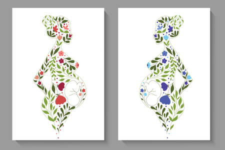 Vector covers with floral slhouettes of pregnant women Illustration