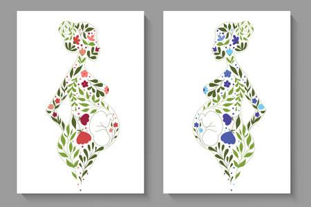 Vector covers with floral slhouettes of pregnant women Ilustração