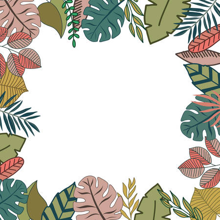 Tropical design border frame template with turquoise green jungle palm tree monstera leaves Illustration