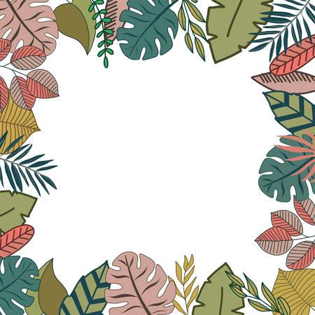 Tropical design border frame template with turquoise green jungle palm tree monstera leaves Ilustração