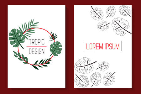 Trendy floral covers. Stylized tropic leaf patterns.