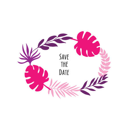 wedding invitation icon with purple and pink tropic leaves