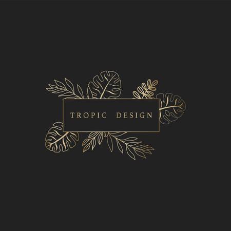 Luxury gold exotic botanical sign or icon
