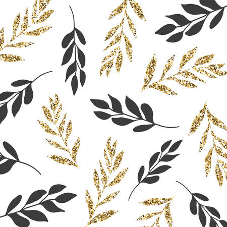Vector seamless pattern with black and gold tropical leaves