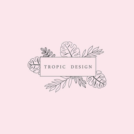 Trendy Tropical Leaves Fashion Sign or Icon Illustration