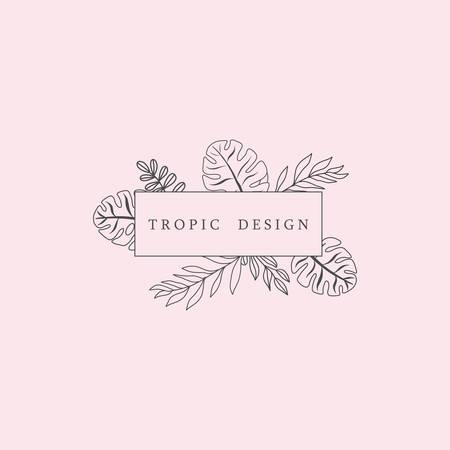 Trendy Tropical Leaves Fashion Sign or Icon Ilustração