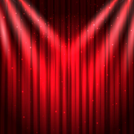 Red theater curtain with glitter and lights. Vector background