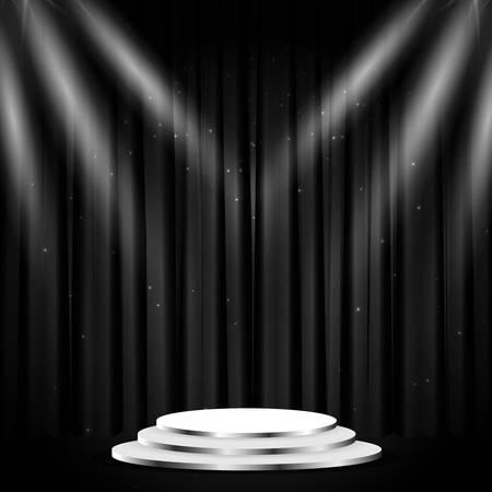 Podium with curtain on black background. Empty pedestal for award ceremony. Platform illuminated by spotlights