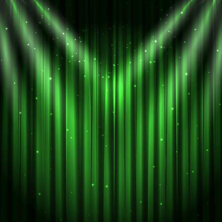 Green velvet curtain background, vector illustration