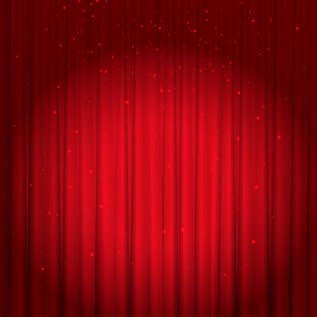 Red velvet curtain with glitter and spotlight. Vector background
