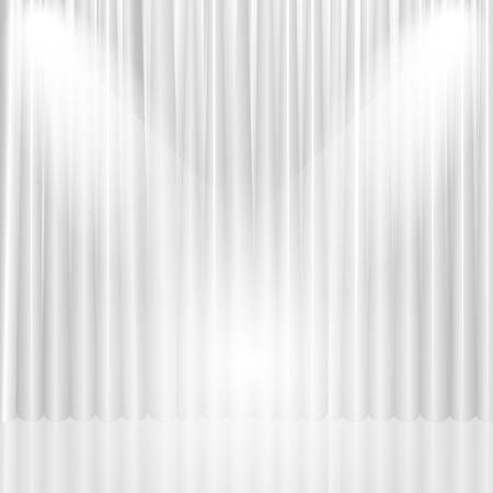 White theater curtain with lights. Vector background