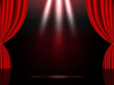 Empty theatrical scene stage with red curtains and lights